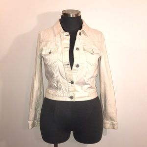 Lane Bryant XL Off White Embroidered Denim Jacket